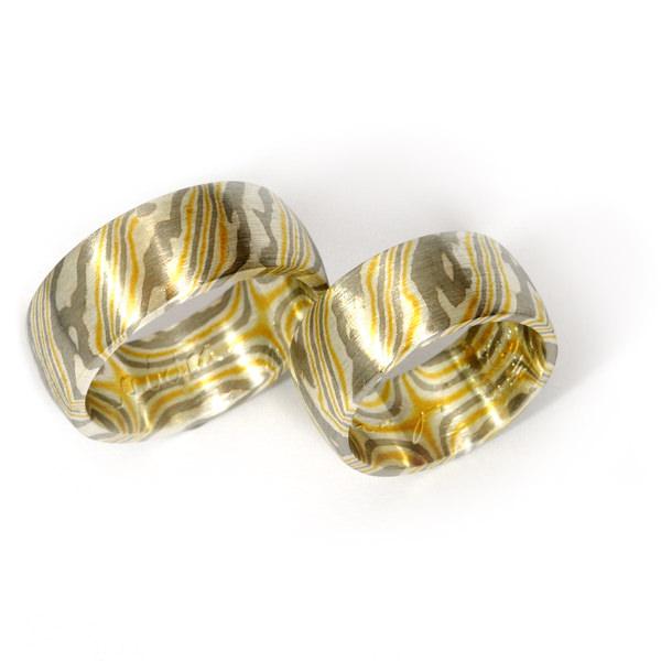 Eheringe Mokume Gane Gelbgold Palladium Silber (1007324)