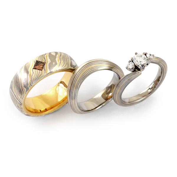 Verlobungsring mit Eheringen Mokumegane Silber Palladium Gelbgold Brillanten (1007644)