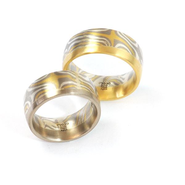 Eheringe Palladium Silber Gelbgold Mokume Gane Fairtrade (1007889)