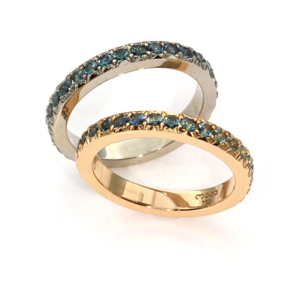 Verlobungsring Rotgold Weissgold Saphire (250745, 250744)